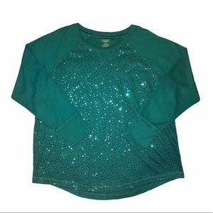 NWT Northcrest Sequin Long Sleeve Shirt